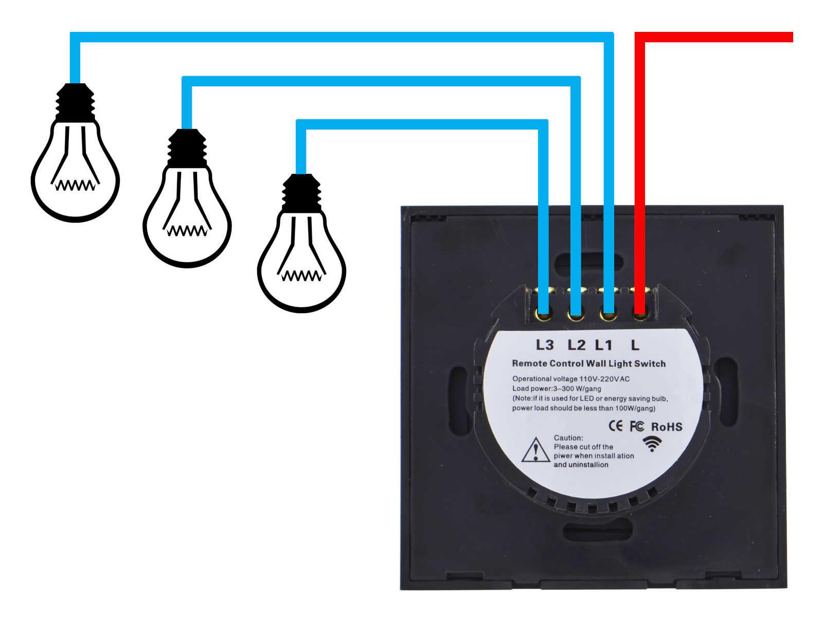 Schemat podłączenia włącznika światła