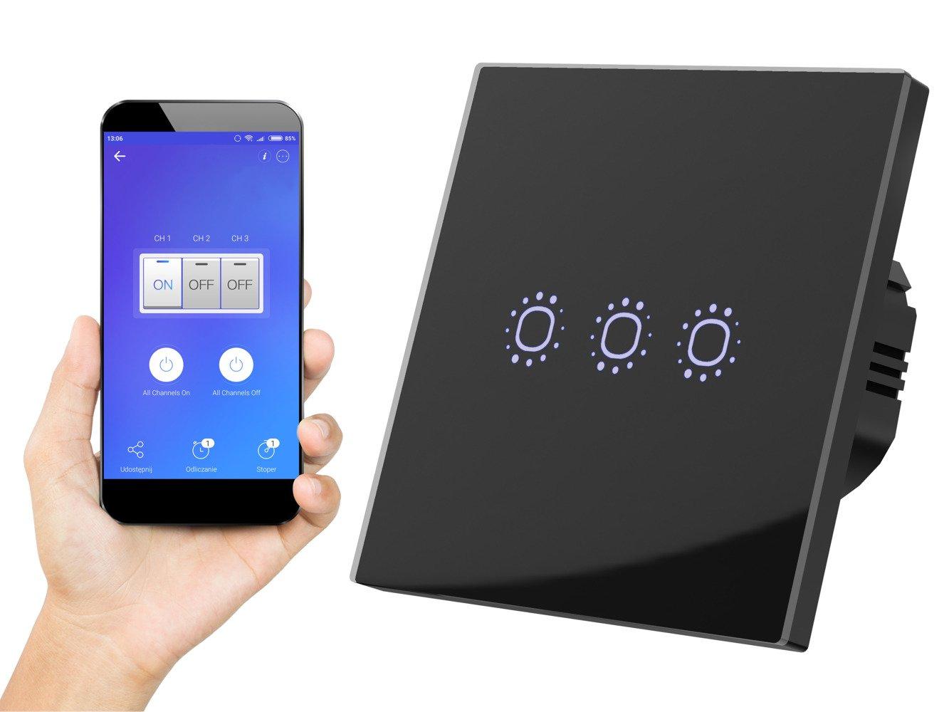 Black WiFi Touch Switch three gangs