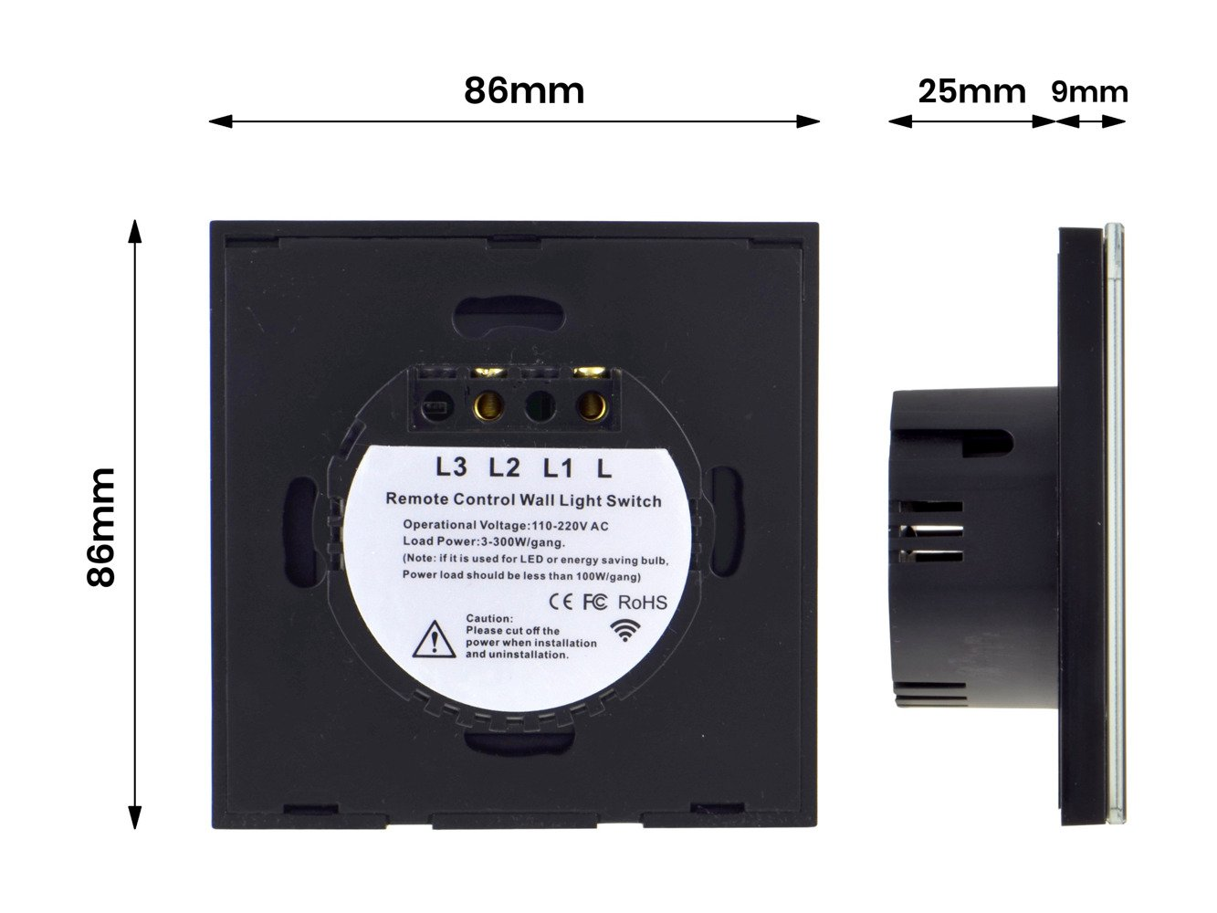 Black Touch Dimmer Switch One Gang With Remote Control Smart Home Wiring A To Light