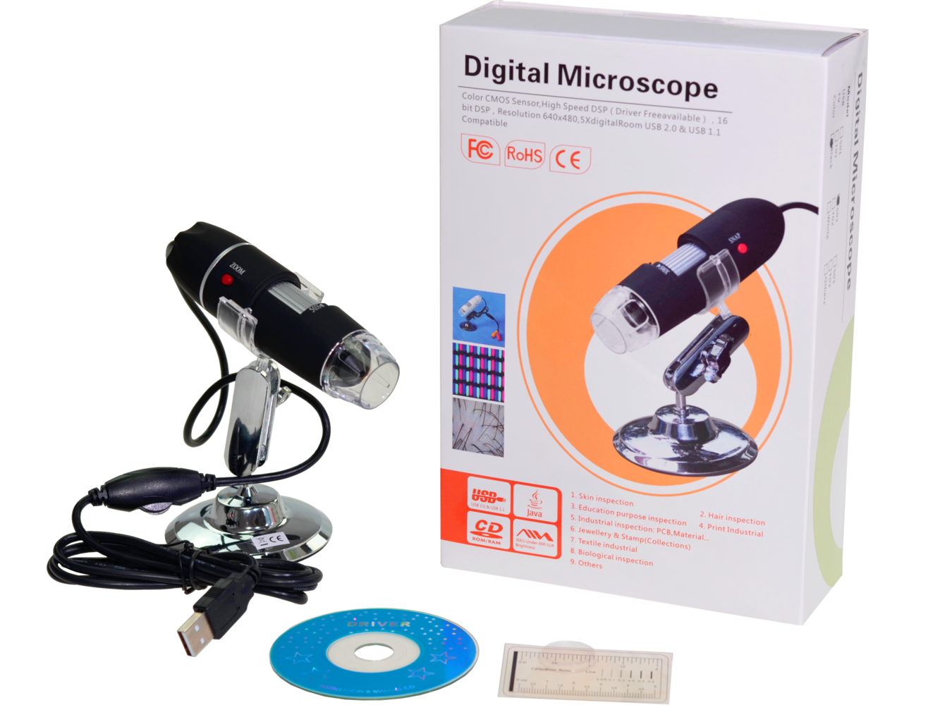 Digital microscope usb camera led mpx ad computer and