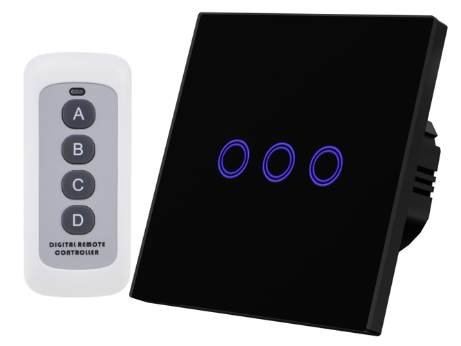 Black touch switch three gangs with remote control