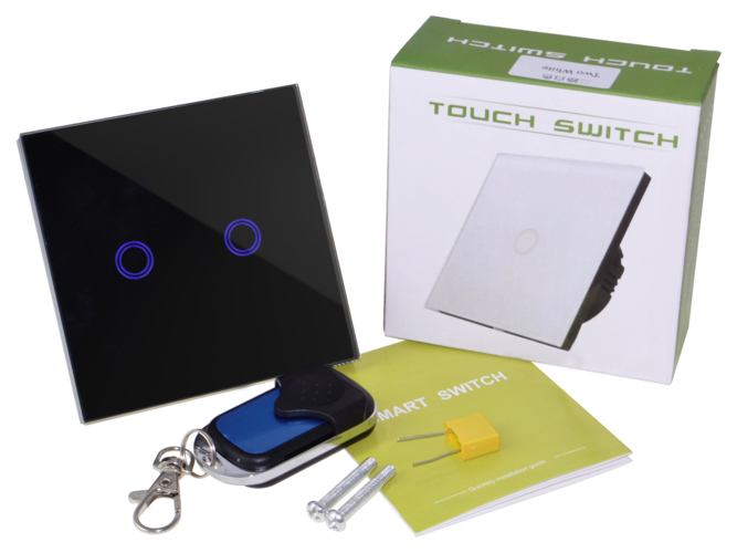 Black touch switch two gangs with remote control