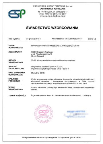 Certificate of calibration of measuring apparatus