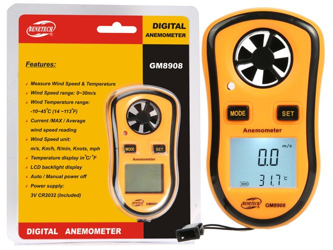 DIGITAL WIND SPEED TEMPERATURE MEASURE GAUGE ANEMOMETER THERMOMETER - AD28
