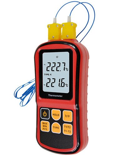 Digital Thermometer Dual Channel Input Thermocouple K J T E R S N C/F Selection - GM4