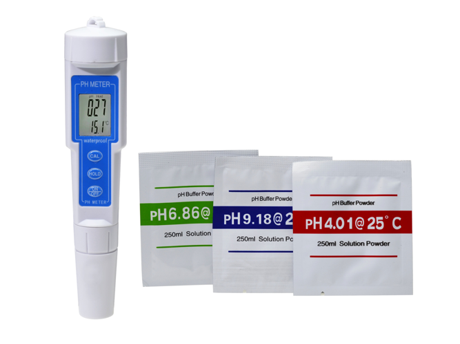 Electronic pH and temperature meter with calibration option - TP11