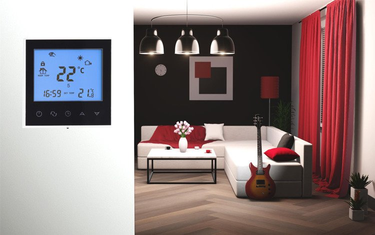Touch thermostat WiFi controller black 16A + floor sensor