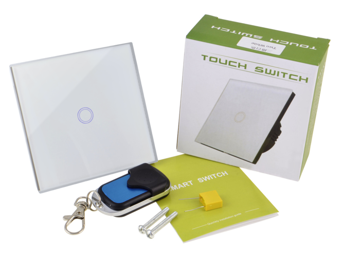 White touch switch one gang with remote control
