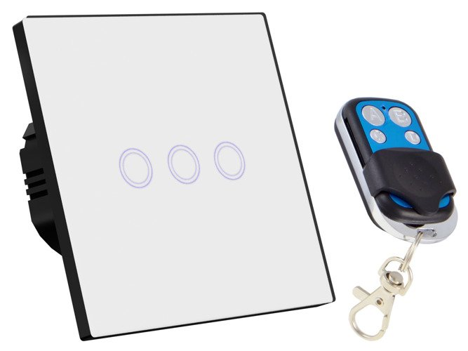 White touch switch three gangs with remote control