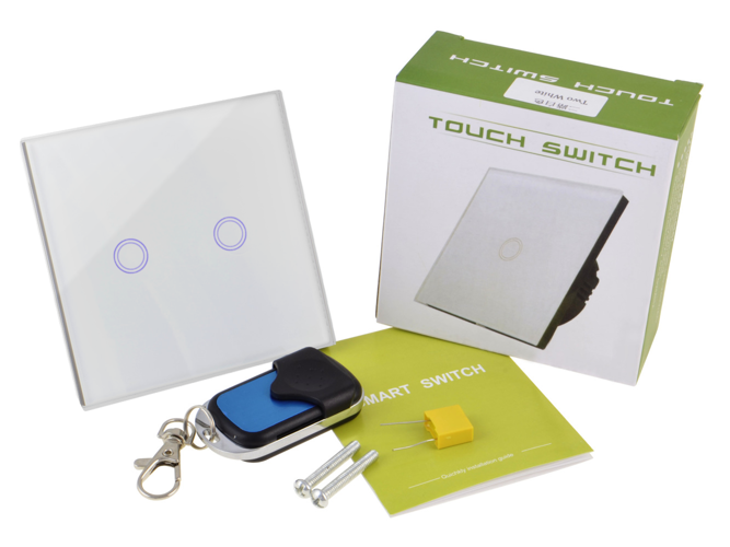 White touch switch two gangs with remote control