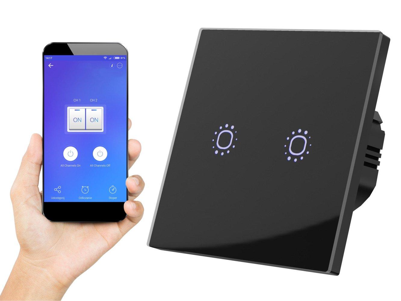 Cudowna Dotykowy włącznik światła szklany WiFi podwójny czarny 2 \ Czarny KC23