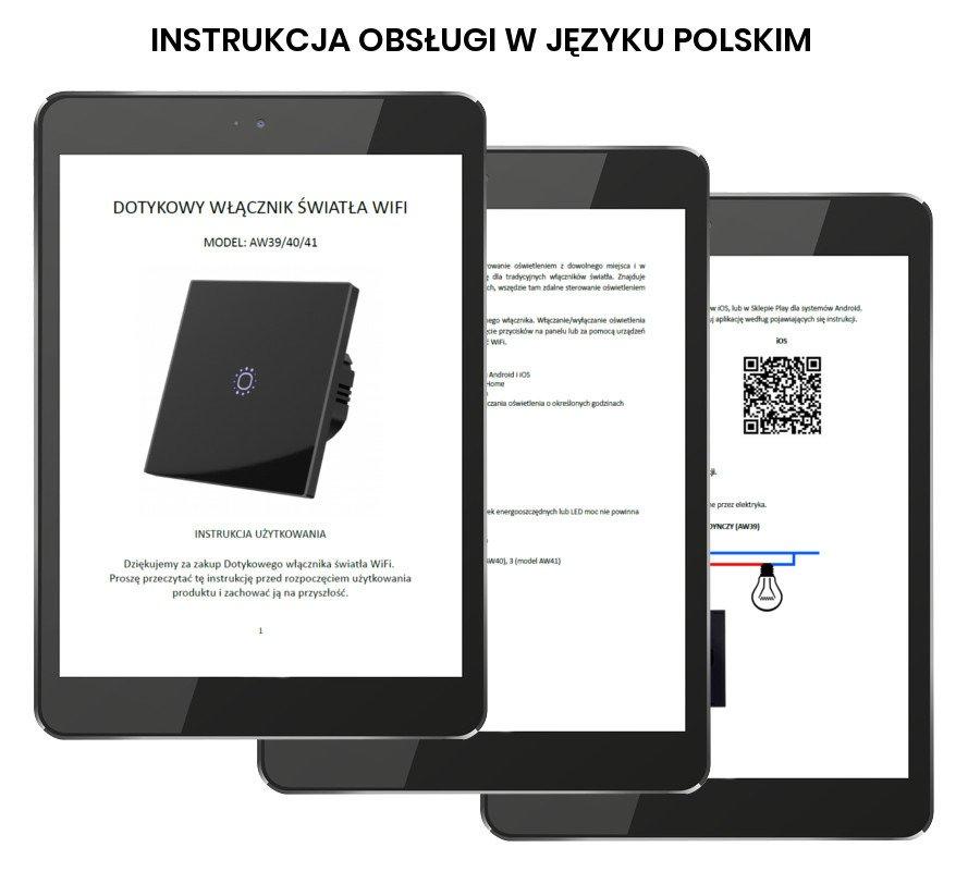 Nowość Dotykowy włącznik światła szklany WiFi potrójny biały 3 \ Biały PW99